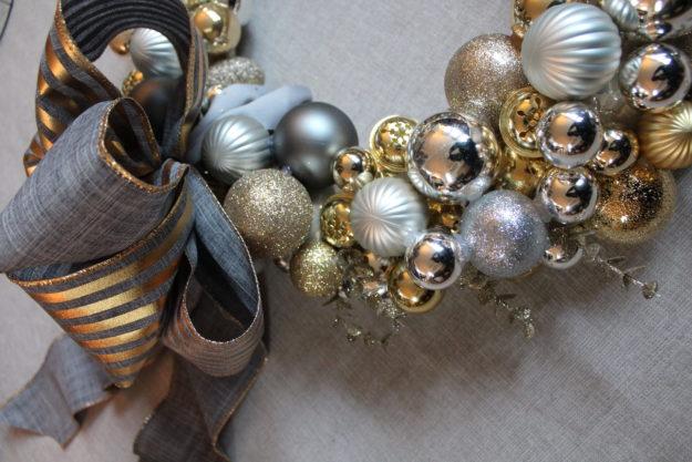 beautiful grey and gold Christmas ribbon