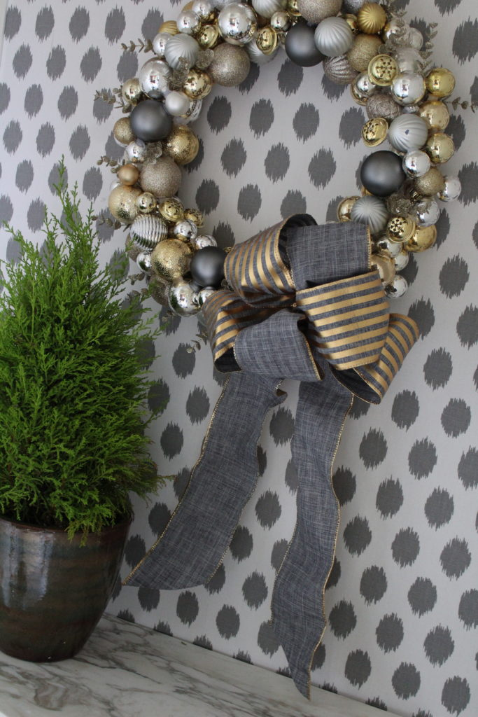 ornament wreath in golds and matte greys