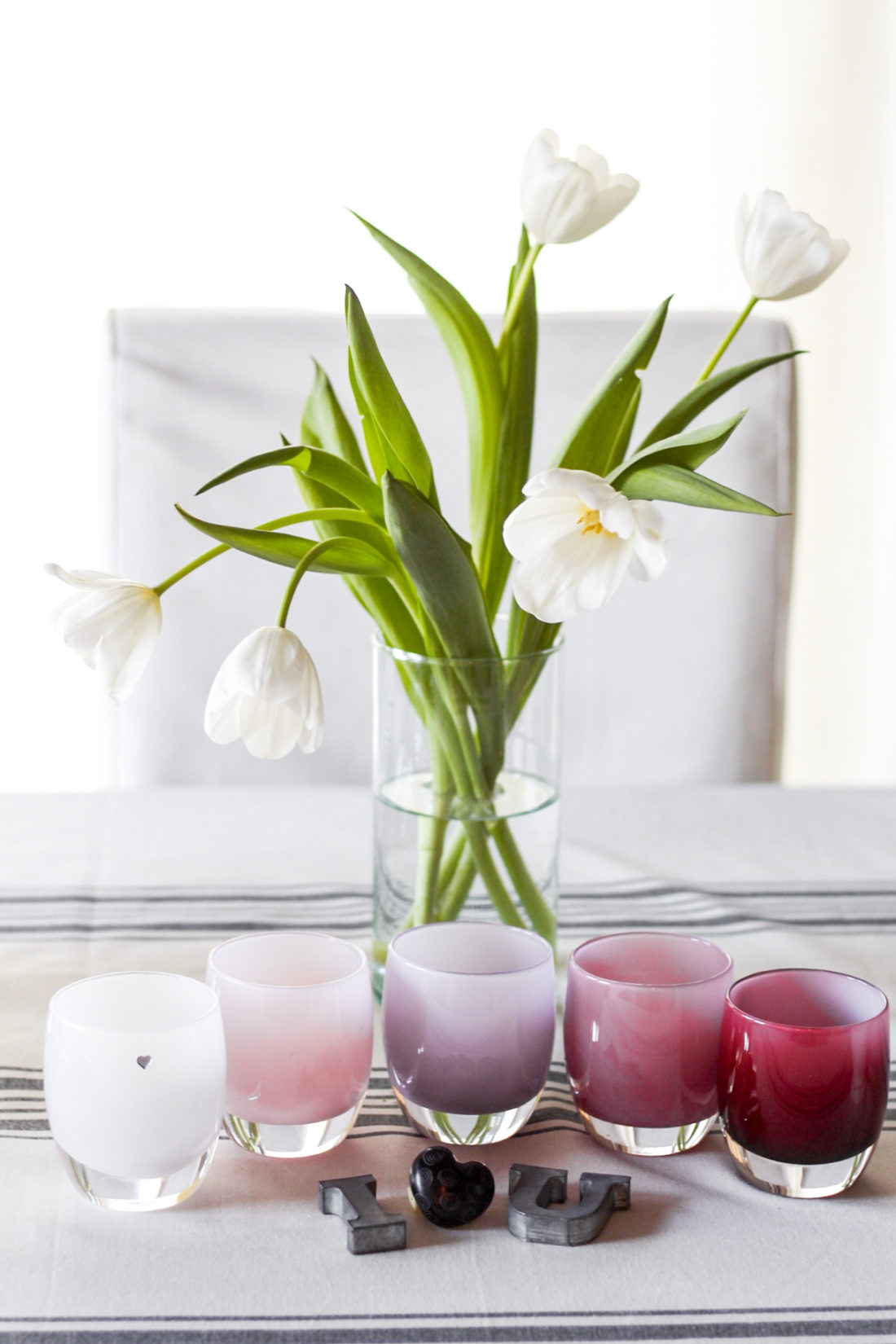 Modern Ombre' Pink Votive Candle Tablescape